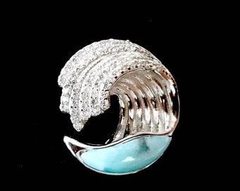 """MOTHERS DAY SALE Original Design Dominican Larimar """"Wave"""" Pendant in Handmade Sterling Silver Setting w/Free Sterling Silver Chain"""