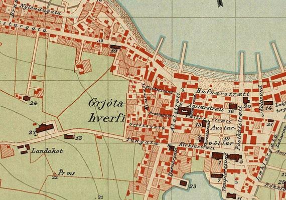 Reykjavik Map Historical Map Of Reykjavik Old Map Print - Reykjavík map