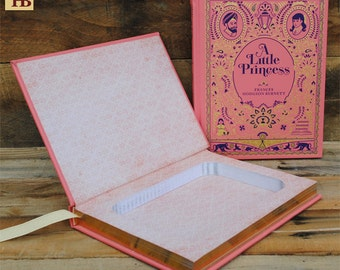 Book Safe - A Little Princess - Pink and Gold Leather Bound Hollow Book Safe