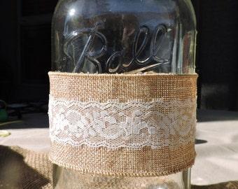 SALE ITEM, Mason Jar Decor, Burlap and Lace Decor, Burlap Decor, Wedding Decor, Mason Jar Centerpiece, Rustic Wedding, Rustic Decor