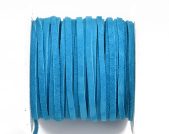 "1/8"" Suede Leather Lace, TURQUOISE BLUE, real leather by the yard, Realeather made in USA, 3mm wide, 25 yards, Lth0027"