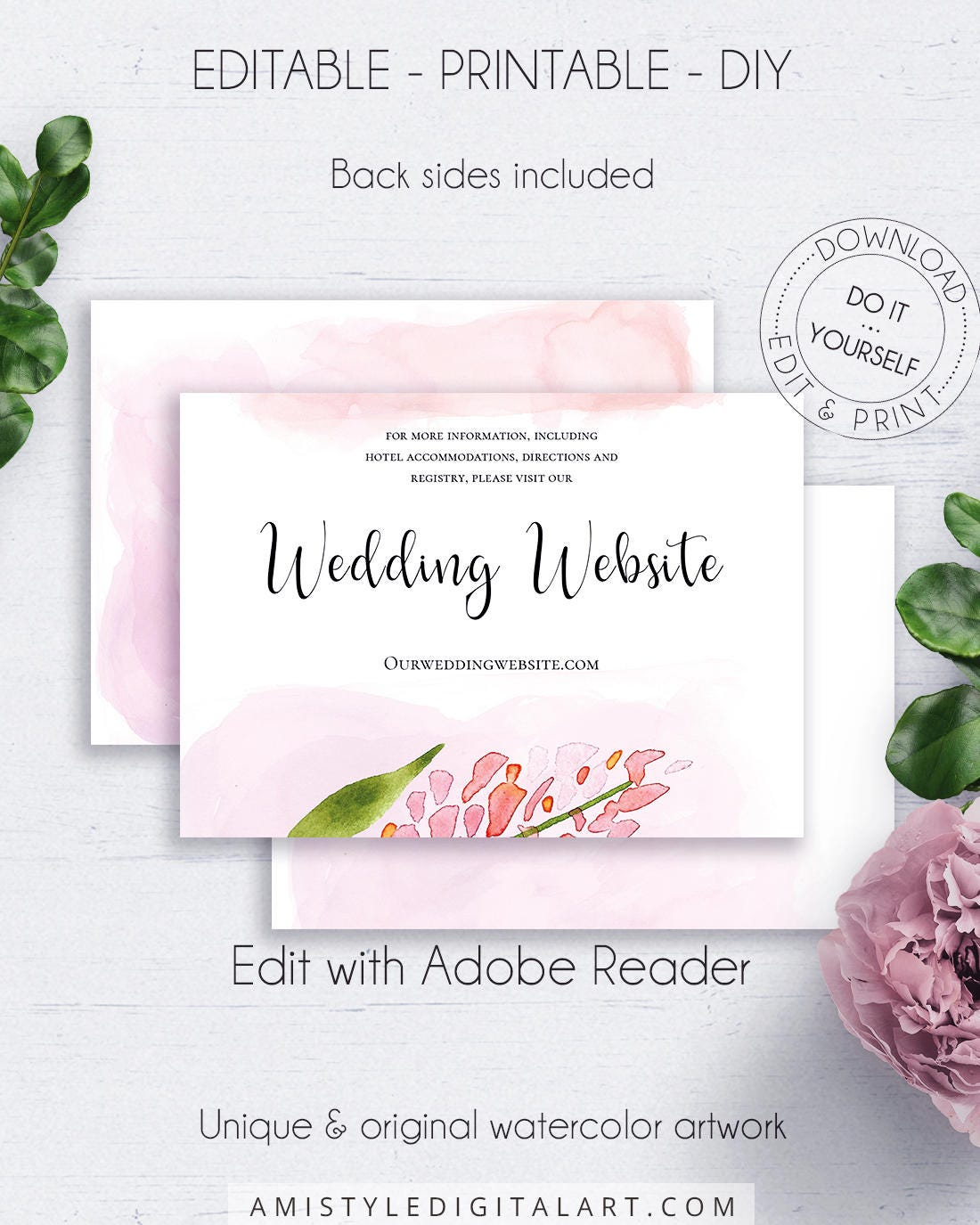 Blush wedding floral website card watercolor flowers details zoom solutioingenieria Image collections