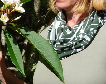Chiffon scarf, printed scarf, infinity scarf, summer scarf, lightweight scarf, unique design, olive scarf, khaki, leaf, luxurious