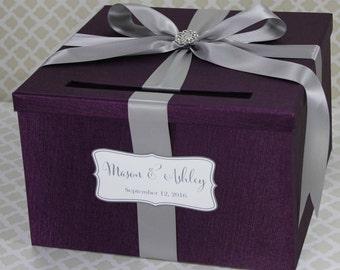Purple wedding card box   Etsy
