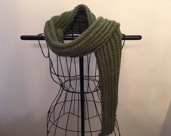 Timber Green Hand Knit Textured Rib Scarf