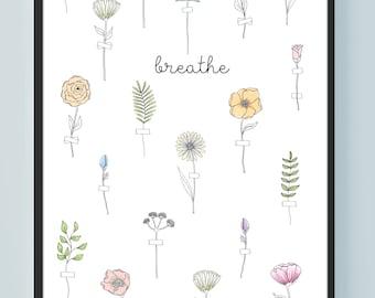FLOWER ILLUSTRATION POSTER / 11x17 Wall Art Print