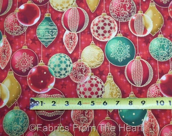 Winter's Graundeur Christmas Metallic Gold Red Green Balls BY YARDS RK Fabric