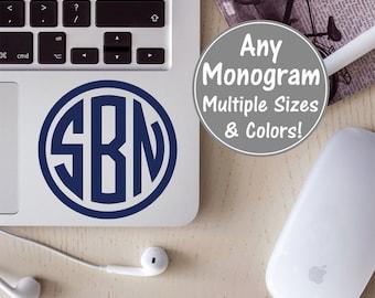Monogram Laptop Decal, Circle Monogram Decal, Circle Monogram Sticker, Glitter Monogram Decal for Men, Personalized Laptop Monogram Decal