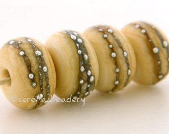 4 DARK IVORY Fine Silver Dots - Handmade Lampwork Glass Beads - taneres - fine silver accents - silver lampwork beads - 11 to 13 mm