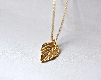 Small Gold Leaf Necklace, Gold Tiny Pendant Necklace, 24K Gold Plated Sterling Silver Necklace, Fall Jewelry, Autumn Jewelry, Coworker Gift