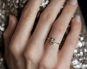 Princess-Diamant-Ring, Princess-Schliff-Verlobungsring, Diamant-Verlobungsring, 0,25 Karat-Diamant-Ring, 18 k massiv Gold Ring, Prinzessin Ring