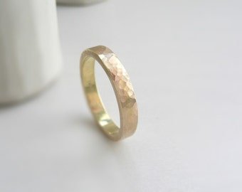 14 k Solid Gold Hammered Wedding Band 3 mm x 1.5 mm