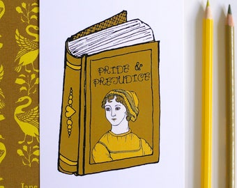 Book Postcard Pride and Prejudice Postcard Jane Austen Postcard Mini Print Unframed