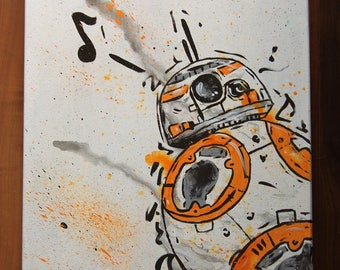 Abstract BB-8 Star Wars watercolor fluid acrylic canvas painting