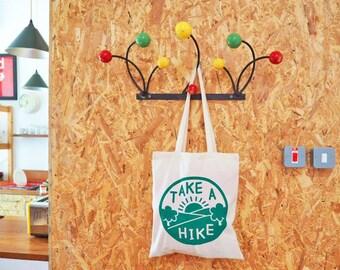 Take a Hike Tote bag, Hiking Bag, Adventure Print, Screenprinted Tote Bag, Funny Shopping Bag, Slogan Quote Bag, Explore Print, Tree Tote