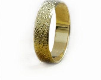 Mens Hammered wedding band 14k gold wedding ring 18k gold wedding band Organic textured wedding ring 4.5mm band