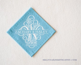Something Blue Wedding Dress Label • Small Wedding Patch • Monogram • Personalized Wedding • 2nd Anniversary • Cotton • Traditional Gift