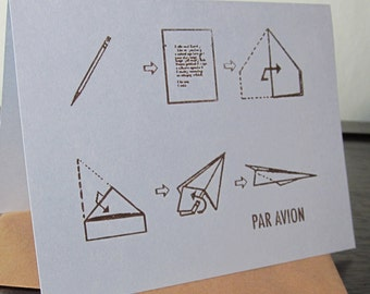 Par Avion - Gocco Screen-Printed Art Card