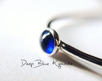 Kyanite Ring, Natural Blue Gemstone Jewelry, Simple Stacking Ring, Silver Kyanite Ring, Kyanite Jewelry, Blue, Minimalist Ring, Kyanite