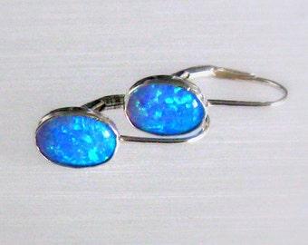 Sterling Silver Dainty Lever Back Hooks Opal Stud Earrings