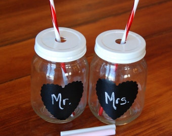 Set of 2 Heart Mason Jar Tumblers with Chalkboard Heart decal and Red and White Reusable Straws