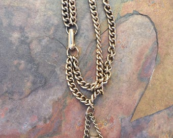 Vintage double chain curb bracelet with perfume bottle-vintage costume jewelry
