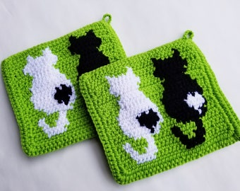 Cat Potholders in Black and White on Lime Green for Married Couples, Wedding Gift, Bridal Shower Cat, Pet Owner, Lover People MADE TO ORDER