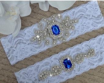 ON SALE Crystal Wedding Garter, Garter, Wedding Garter Set, Blue Garter, Bridal Garter Set, Lace Garter, Blue Wedding Garter, Garter Style-