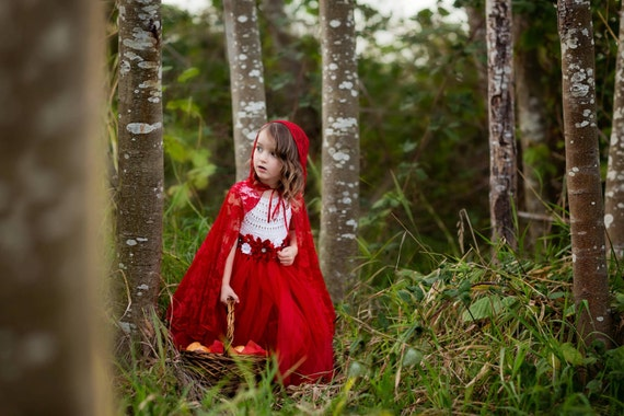 Little Red Riding Hood dress outfit fairy tale dress, little red riding hood fairy tale princess costume dress white red birthday tutu dress