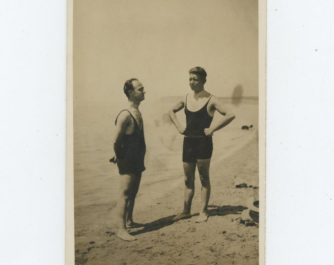 Vintage Snapshot Photo: Men in Swimsuits, c1920s [86697]