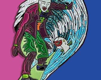 Surf's Up Joker's Down | Batman soft enamel pin SHIPS APRIL 1ST | Harley Quinn Catwoman Backpack Pin