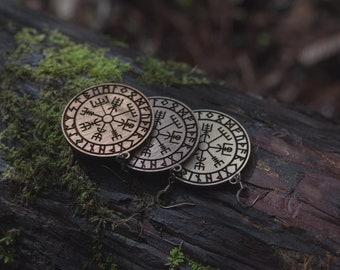 Vegvísir rune earrings, laser cut, wood, magic stave, runes, icelandic, viking