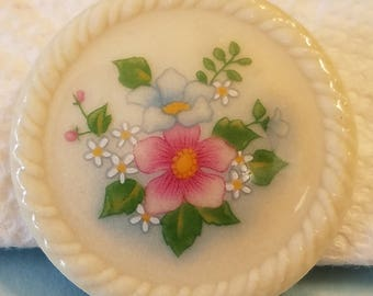 Vintage Avon Porcelain brooch with flowers, Avon Brooch, Avon