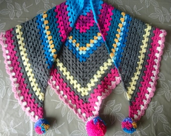 Crotchet scarf - triangle scarf - pompom scarf - granny stripe - pink, grey, blue, yellow.