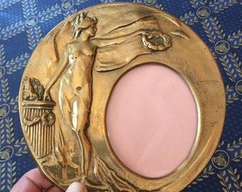 French art nouveau brass frame