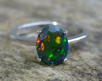 Natural Oval Cut 9x7 mm Hot Rainbow Black Opal 925 Sterling Silver Ring Size 7 - Fine Art Ring - Natural Black Opal Ring size 7 - Engagement
