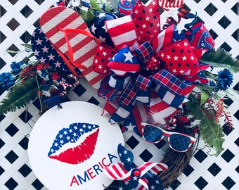 4th of July wreath, Fourth of July wreath, Patriotic wreath, Patriotic decor, America wreath, Red White and Blue wreath, summer wreath