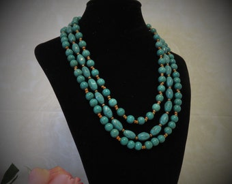Three Strand Jade Green Turquoise Necklace.
