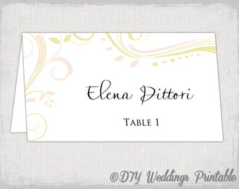 """Printable Place card template blush petal pink and pale gold """"Scroll"""" name cards DIY wedding place card templates Avery 5302 Word download"""