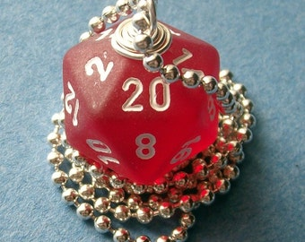 Dungeons and Dragons - D20 Die Pendant -  Red Frost - Geek Gamer DnD Role Playing RPG