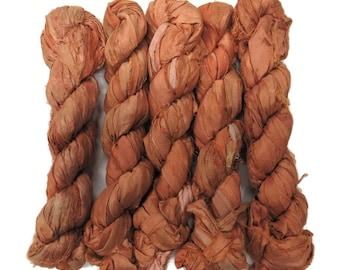 New! 50g Sari Silk Ribbon, 25-28 yards , color Amber