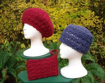 Lace Cap, Beret and Wrist Bag - PA-106 - Crochet Pattern PDF
