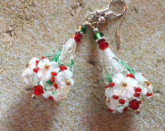 Holiday Jewelry, Lampwork Earrings, Red and White Floral Christmas Earrings, Lampwork Jewelry, SRA Lampwork Jewelry, Gift For Her