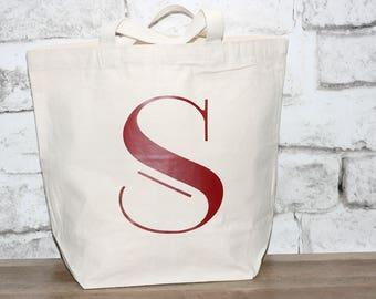 Large Monogrammed Tote Bag, 16-1/4 X 18  X 6-3/4