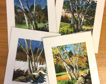 "Set of 4 Seasons ""Birch Trees"" Four 5x7 prints, each season matted to fit 8x10 frame"