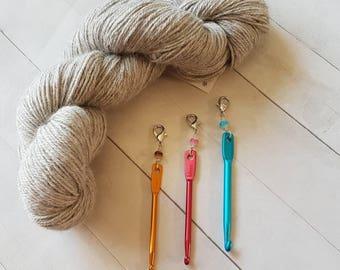 Beaded Mini Crochet Hook  -Removable Progress Keeper -Crochet Accessory -Knit Accessory -Wristlet Accessory