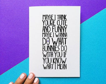 funny valentine card maybe i wanna do what bunnies do with you ingrid michaelson quote card anniversary card funny wedding night card him