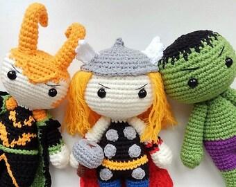 Thor: Ragnarok Crochet Superheroes Thor Hulk Loki Amigurumi Superhero Dolls  Marvel Comics Inspired Crochet Toys