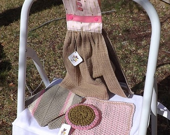 Handmade Kitchen Gift Set: Snap-On Oven Door Hand Towel, 2 Crocheted Double Thick Potholders, a 100% Cotton Dishcloth, Large Nylon Scrubby