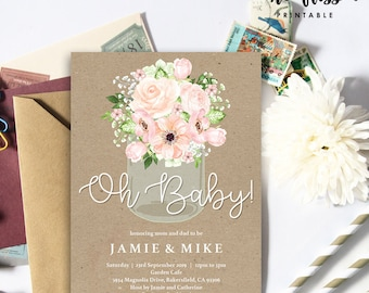Mason Jar Baby Shower Invitation | 5x7 | Editable PDF | Instant Download | Personalize with Adobe Reader